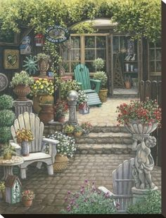 Gardens and Florals : Romantic Realistic Paintings by Janet Kruskamp - Miss Trawick's Garden Shop - Romantic Paintings of Courtyard Scene 5 Garden Shop, Garden Art, Garden Painting, Realistic Paintings, Original Paintings, Oil Paintings, Decoupage, Wooden Patios, Cottage Art