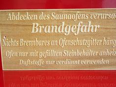 Sauna Hinweisschild  Saunaschild lasergravur  Brandgefahr  Textgravur 25x12 cm
