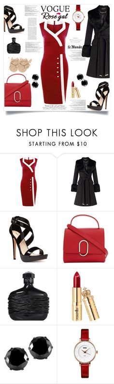 """""""Red Dress"""" by amina20 ❤ liked on Polyvore featuring Vanity Fair, Balmain, Miss Selfridge, Nine West, 3.1 Phillip Lim, West Coast Jewelry, sweetheart, bodycondress, pencildress and fitteddress"""