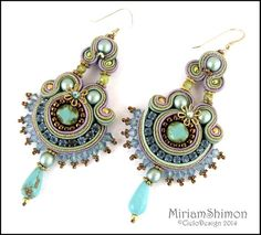 Turquoise Carneval Soutache Earrings by MiriamShimon on Etsy
