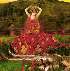 """""""La Belle Dame Sans Merci"""", 1926 ~ by Frank Cadogan Cowper -- ater Keat's poem """"The Beautiful Lady without Mercy"""" which tells of a beautiful femme fatale, a faerie woman, . text changed to be 500 chars, go to original for the whole story Frank Dicksee, John William Waterhouse, Charles Edward, Pre Raphaelite Paintings, Carl Friedrich, Pre Raphaelite Brotherhood, John Everett Millais, William Adolphe Bouguereau, Illustration Art"""