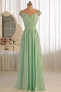 Pretty Mint Cap Sleeve Sweetheart Neckline Prom Dresses 2015, Formal Dresses,#bridesmaids, #weddings