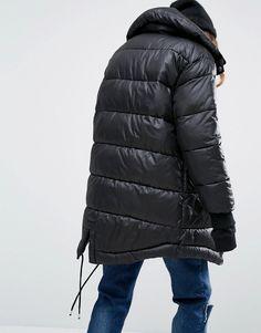 Image 2 ofPuffa Oversized Longline Padded Jacket With Fishtail Detail