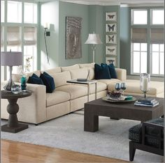 modern living room cool color palette | ... timeless in style. A cream and grey palette plus cool accents of blue