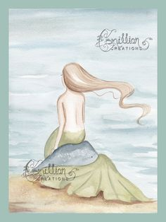 Quiet Mermaid on the Beach Original Watercolor Painting by Camille Grimshaw Awesome Drawings, Amazing Artwork, Cool Artwork, Watercolor Mermaid, Mermaid Art, Original Image, Original Artwork, Artist Bio, Land Of Enchantment