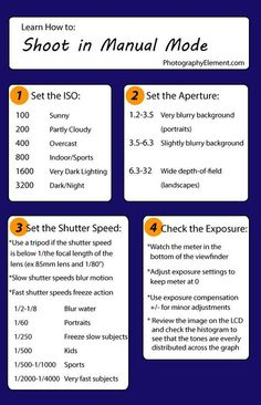 Learn other great photography tips at Photogra… Manual exposure mode cheat sheet. Learn other great photography tips at Photogra…,photography Manual exposure mode cheat sheet. Learn other great photography tips.