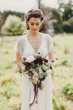 fall bouquet with burgundy - photo by Paula O'Hara http://ruffledblog.com/art-nouveau-irish-mansion-wedding #weddingbouquet #bouquets