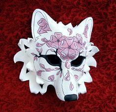 Cherry Blossom Wolf Mask by merimask on DeviantArt Liquitex Acrylic Paint, Kitsune Mask, Dragon Mask, Wolf Mask, Cool Masks, Animal Masks, Japanese Art, Japanese Geisha, Japanese Kimono