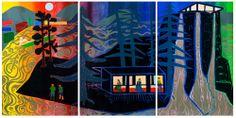 woodcut in 3 panels, Tom Hammick