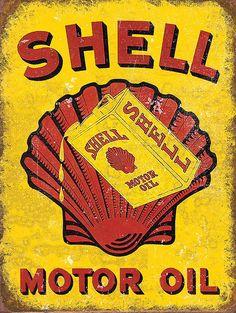 Shell Motor Oil , Retro metal Aluminium Sign vintage Garage Shed man cave Vintage Metal Signs, Vintage Bar, Retro Vintage, Vintage Style, Garage Signs, Garage Art, Garage Shop, Old Signs, Metal Wall Art