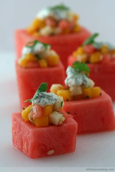 Sweet and Savory Fruit Salad in Watermelon Cups