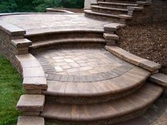 pavers for the front walkway. Brick Paver Patio, Paver Walkway, Front Walkway, Front Steps, Walkways, Curved Patio, Porch Steps, Hardscape Design, Patio Design