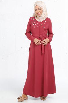 Refka Bordo Nakış İşlemeli Elbise 99.90 TL