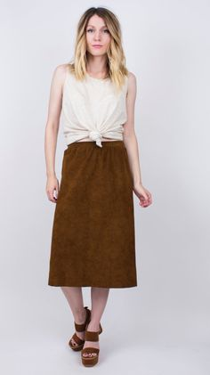 vintage 90s chocolate brown faux suede midi by VonVixenVintage