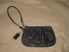 Coach Lurex Wristlet Black Silver #Coach #ShoulderBag