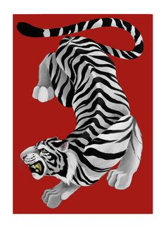 """Byakko is a white tiger of Japanese folklore that symbolizes the western winds brought by the autumn storms, and the artist Mercedes Bellido, with this artwork, has wanted to pay it a tribute. """"It is one of the four mythological monsters that represents the four cardinal points and it is a symbol of lightning and air,"""" says the creator about this piece that talks about strength, Japanese culture and good luck. #mercedesbellido #art #design #fashion #illustration #artonline #illustrator… Mythological Monsters, Japanese Folklore, Japanese Culture, Online Art Gallery, Mythology, Dinosaur Stuffed Animal, Bring It On, Storms, Folklore"""