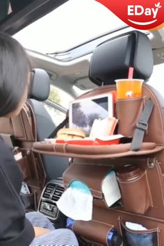 Leather Car Seat Organizer 😍 The Faux Leather Car Seat Organizer is a great addition to help reduce the clutter in your vehicle, perfect for traveling or everyday use! Easily attach around the headrest of the drivers or passengers front seat. Car Seat Organizer, Leather Car Seats, Car Hacks, Camping Hacks, Jeep Hacks, Camping List, Road Trip Hacks, Hacks Diy, Tent Camping