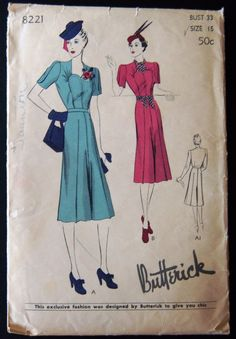 Butterick 8221 Dress 30s  The bodice with sweetheart neckline and gathering at upper bustline is attached to skirt at waistline. The 4 gored skirt is creased on inside of front and back seam & outside at the center or each gore. Wrist length or shorter sleeve. Sz15/33/36 complete used sld 5.5+2.54 6bds 10/20/15