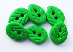 6 x Leaf Buttons  set of 6 polymer clay buttons  by ColorMyButtons, $2.50