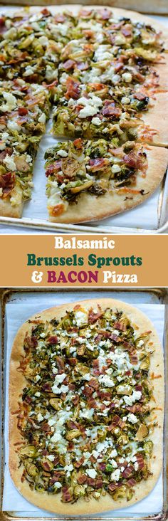 Balsamic Brussels Sprouts, Bacon and Feta Pizza Well Plated by Erin