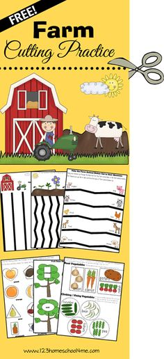 Super cute free printable worksheets for toddler, preschool and kindergarten age kids with lots of cutting practice that also includes matching baby/mommy animals, sorting vegetables, matching shapes and more! Preschool At Home, Preschool Themes, Preschool Printables, Preschool Lessons, Preschool Kindergarten, Preschool Learning, Preschool Crafts, Toddler Preschool, Teaching