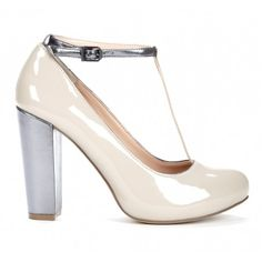 Alayna - Round toe t-strap pump with block heel and ankle strap.