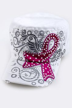 This rhinestone adorned, military-style cap is decorated with a pink breast cancer ribbon with a back-set of abstract art. The hat has a brass buckle and is 100% cotton. Color: White $21.99 - $7.50 of EVERY purchase is given directly to the Breast Cancer Research Foundation (BCRF)!