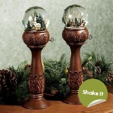snow globes on pillars