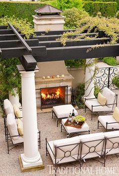Outdoor living, pergola, outdoor fireplace, outdoor furniture, dream home Outside Living, Outdoor Living Areas, Outdoor Rooms, Outdoor Decor, Outdoor Dining, Outdoor Stone, Outdoor Retreat, Outdoor Privacy, Outdoor Patios