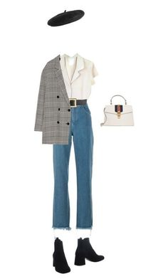 Beret, plaid pea coat, high waisted jeans paired with a white low cut collar tee Baskenmütze, karierter Pea Coat, hoch taillierte Jeans gepaart mit einem [. Look Fashion, Hijab Fashion, Korean Fashion, Winter Fashion, Fashion Outfits, Womens Fashion, 80s Fashion, Fashion History, Fashion Mode