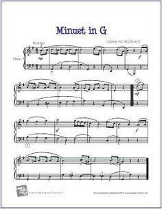 Minuet in G (Beethoven) | Sheet Music for Easy Piano - http://makingmusicfun.net/htm/f_printit_free_printable_sheet_music/beethoven-minuet-piano.htm
