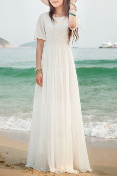 White Short Sleeve Maxi Dress