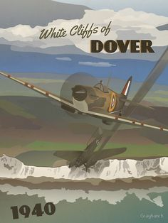 "'Dover Cliffs 1940 ""Battle of Britain Travel Poster""' by Grayhanch"