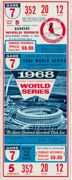 1968 World Series Game 7 ticket Detroit Tigers World Series Champions
