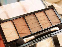 Olhos Make Up da Paleta Da sombra de Olho Maquiagem 5 Cores Shimmer Paleta Nu Sombra Kits de Maquiagem Bronzer Sombra À Prova D' Água(China (Mainland))