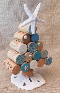 Mini Christmas Tree Idea Excited to share this item from my shop: Wine Cork Christmas Trees with LED lighting Natural Beach Christmas Multi-Shell Ornaments 3 ornaments Beach Christmas Trees, Coastal Christmas Decor, Mini Christmas Tree, Christmas Decorations, Coastal Decor, Nautical Christmas, Holiday Decor, Scandinavian Christmas, Tree Decorations