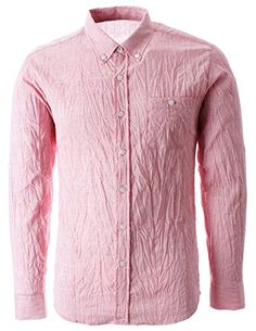 FLATSEVEN Mens Crinkled Cool Fabric Long Sleeve Shirt Button Down (SH1002) Pink, M FLATSEVEN http://www.amazon.com/dp/B00L42AYLS/ref=cm_sw_r_pi_dp_s5e3ub0Q5WR2Q #FLATSEVEN #Men #Sleeve #Shirt #Fashion