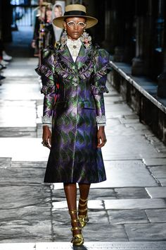 For me, the strongest look in the show. Pushes the grandma chic crazy cucu hodge podge style with a distinct luxury that reminds you this is not a thrift shop selection, its gucci, and expensive.