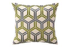 One Kings Lane - Great Graphics - Interlock 20x20 Linen Pillow, Kiwi