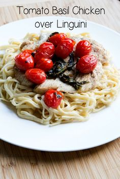 Delicious and quick skillet dinner recipe for Tomato Basil Chicken on Linguini | 5DollarDinners.com