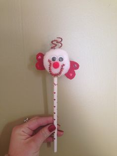 My mom is so creative!! Throwback to my childhood and such a cute valentines idea! Homemade Pom Pom pencil topper!