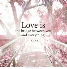 Love is a bridge between you and everything. Picture Quotes #rumi #quotes #love