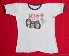 KISS Vintage T Shirt 70's Tour Concert Ringer Heavy Metal Hard Rock Masked #None #BasicTee