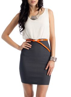 belted two-fer dress $34.00