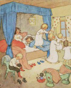 vintage ida bohatta print or card children's book illustration waldorf family children holiday christmas winter solstice