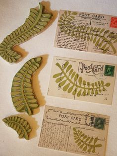 Hand carved stamp =  fern.