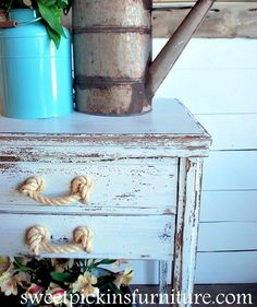 Dress up Drawers with rope handles for a beachy nautical look.