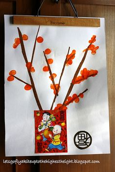 """let's go fly a kite: Kumquat Thumbprints and """"Hello Kitty"""" Giveaway (Crafting with my kids, Chinese New Year Project No. Chinese New Year Crafts For Kids, Chinese New Year Activities, Chinese Crafts, New Years Activities, Chinese Art, Craft Activities, Art For Kids, Chinese Culture, Kid Art"""