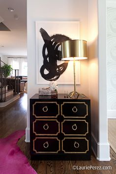 lavender Log Home Decorating - Before and After New Home Interior Design: Timothy Corrigan Black and gold Black + Gold Home Modern, Modern House Design, Modern Interior Design, Home Design, Design Ideas, Modern Foyer, Modern Lofts, Vintage Furniture, Painted Furniture