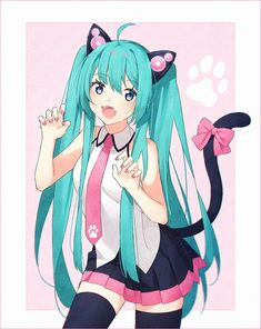Miku Hatsune Neko Vesion Vocaloid, Neko Kawaii, Kawaii Girl, Neko Neko, Anime Chibi, Manga Anime, Anime Art, Sweet Pictures, Kagamine Rin And Len